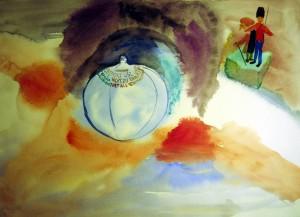 Akvarel af forfløjen badebold – Peder Brandt